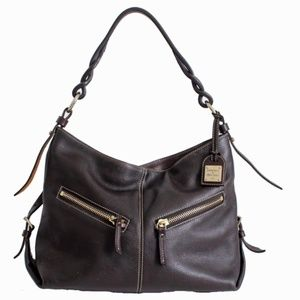 Dooney & Bourke Brown Pebbled Leather Hobo Bag